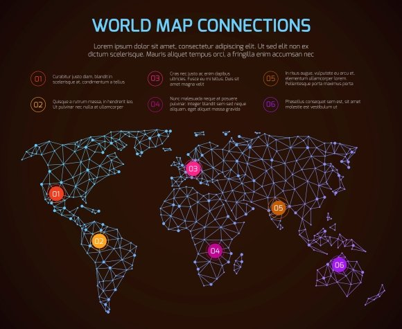 World Polygonal Map Infographic