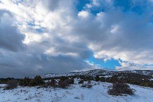 Beautiful blue sky winter landscape