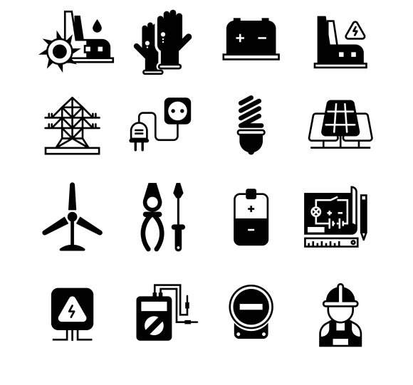 Electric Power Plant Icons