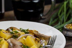 salad with potato and smoked fish
