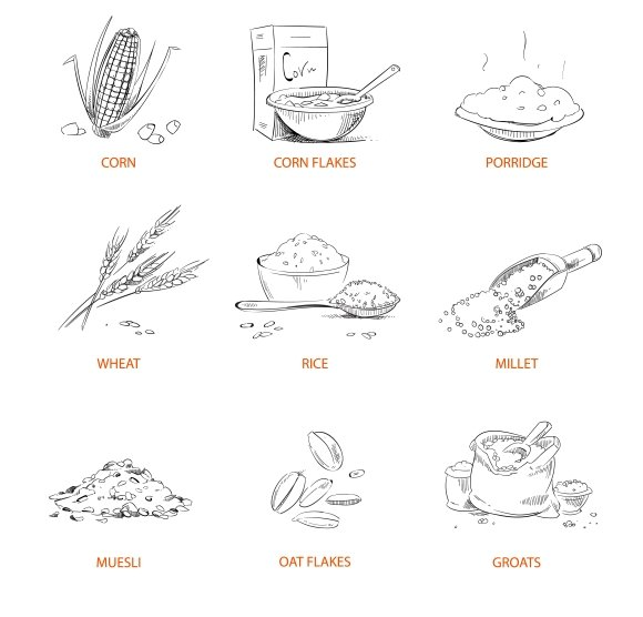 Doodle Cereals Wheats Icons Set