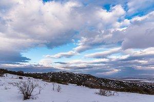 Winter blue sky landscape