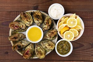 Plate of Grilled Artichokes