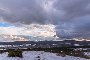 Dramatic sky winter landscape