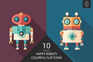 Happy robots flat square icon set