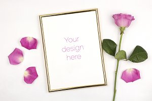 Mockup - Gold Frame with Rose