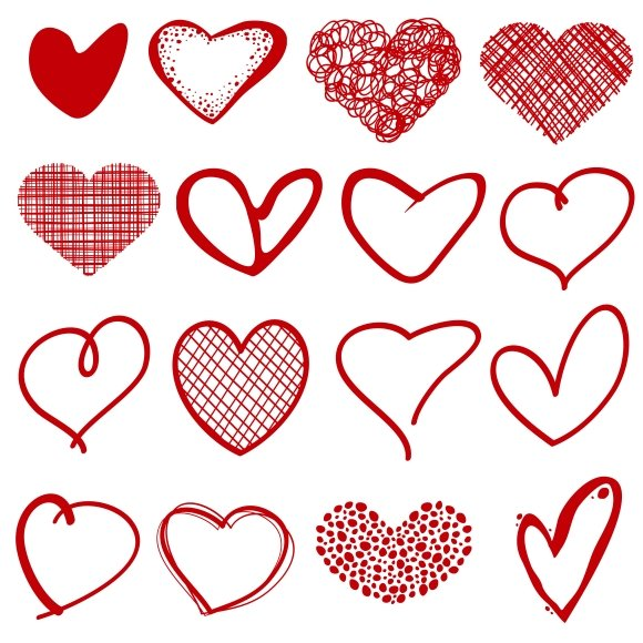Vintage Outline Sketch Hearts