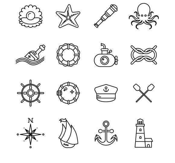 Marine Sea Nautical Thin Line Icons