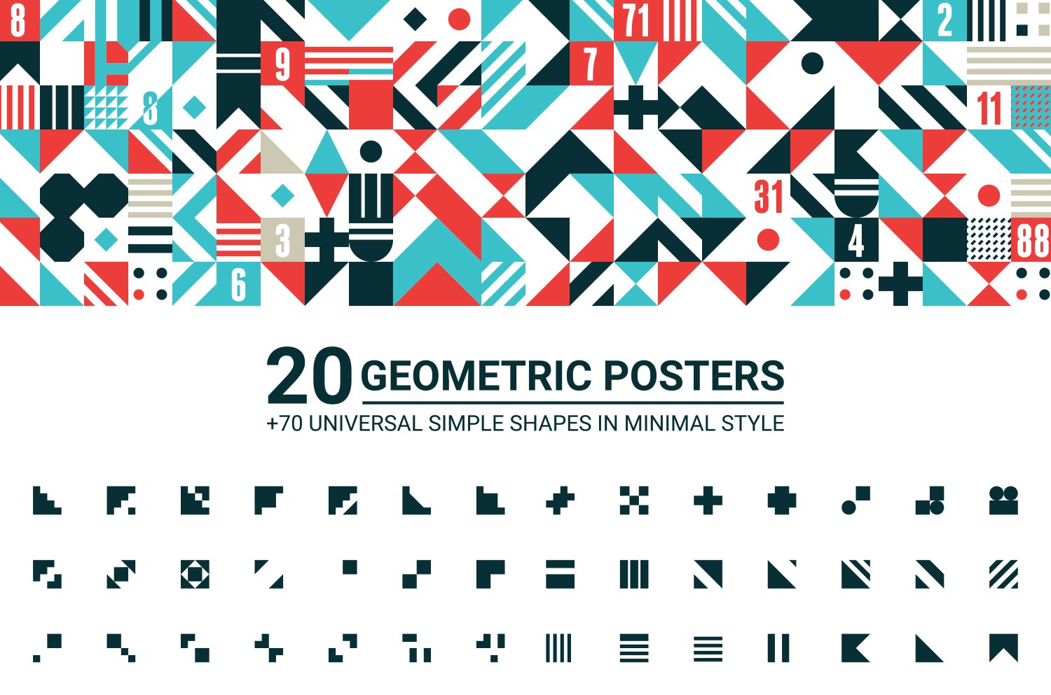20 GEOMETRIC POSTERS 70 SHAPES Flyer Templates Creative Market