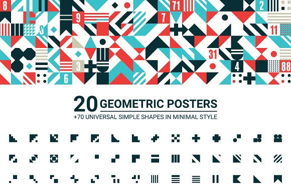 20 GEOMETRIC POSTERS 70 SHAPES