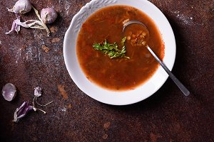 Gazpacho soup with ingredients