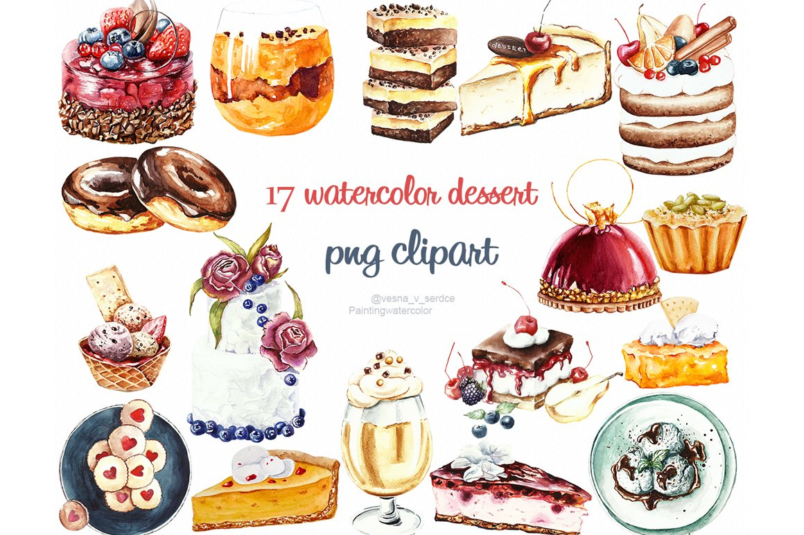 Watercolor Cake Clip Art : Watercolor cake, dessert clipart ~ Illustrations ...