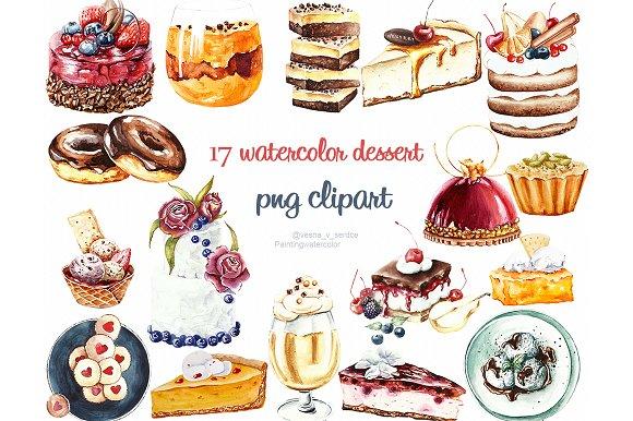 Watercolor cake, dessert clipart ~ Illustrations ...