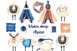 Winter sheep boho clipart