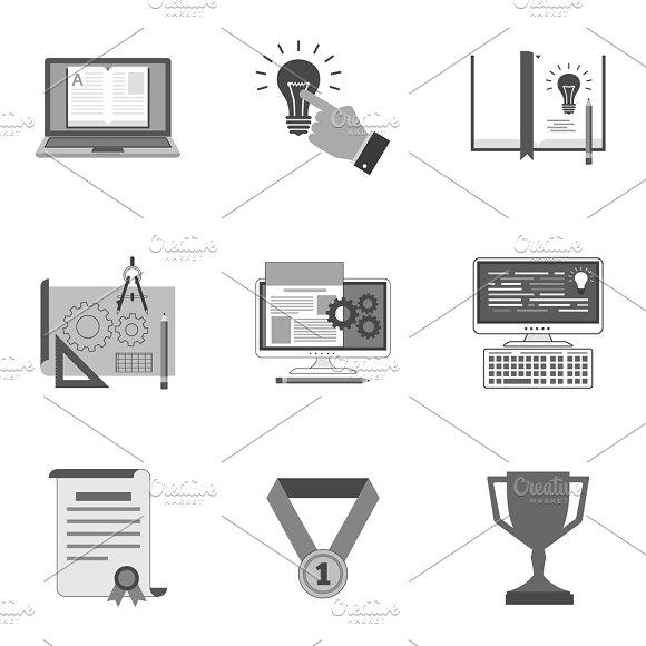 Nine Flat Icons Set 23 23