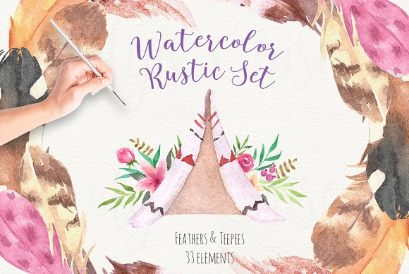 Watercolor Rustic Set