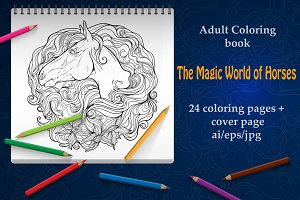 Coloring book: Magic world of horses