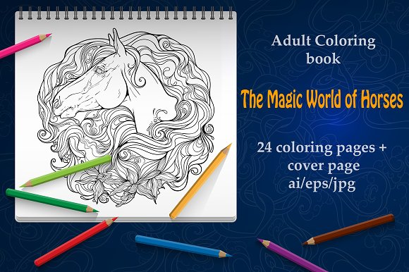 Coloring Book Magic World Of Horses