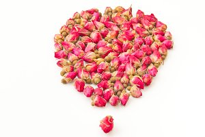 Dried herbal tea rose buds