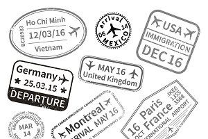 Big set of black travel visa stamps