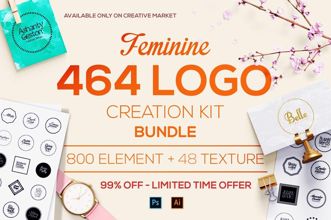 Feminine logo creation kit bundle templates