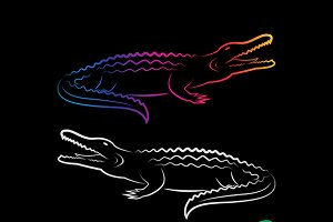 Vector group of crocodile design.