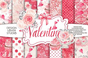 Watercolor Sweet Valentine DP pack