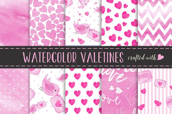 Watercolour Valentines Doodle Papers