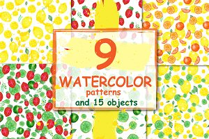 Watercolor patterns. Citrus, berries