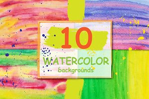 "10 watercolor backgrounds. ""Summer"""