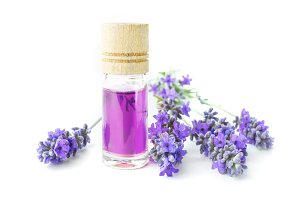 Aromatherapy oil and lavender.