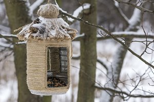 Vintage bird feeders. Handmade. Small depth of field.