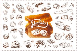 Bakery icons and calligraphy