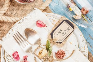 Tableware and silverware with different decorations