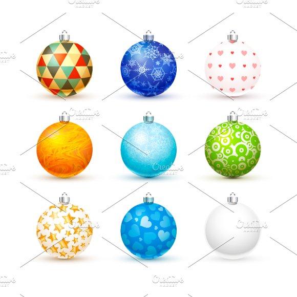 Nine Realistic Christmas Balls