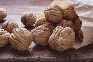 Large walnuts on the table.