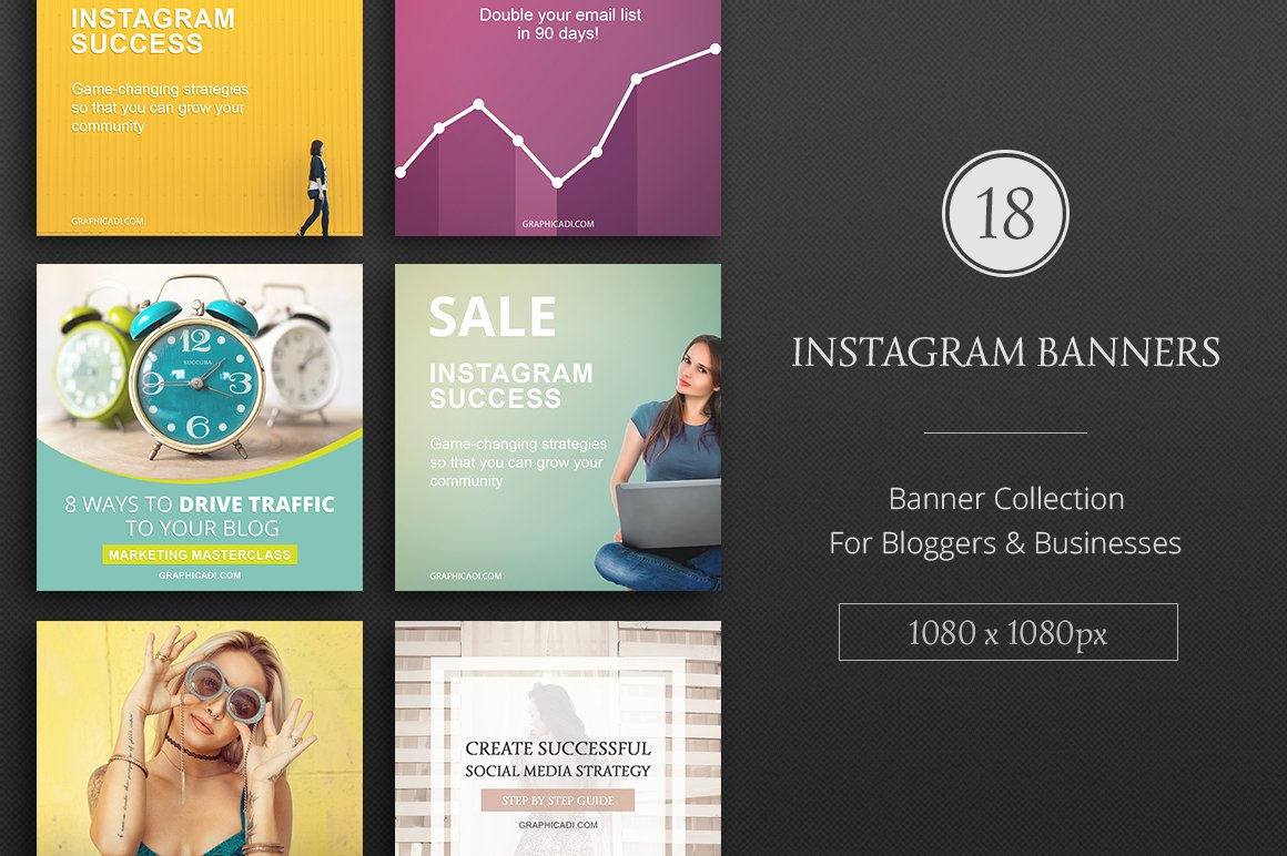 Instagram Banner Templates Web Elements Creative Market