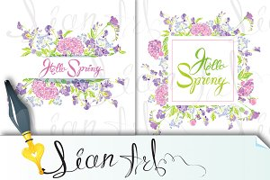 Hello Spring, flowers frames