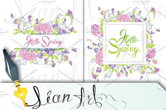 Hello Spring Flowers Frames