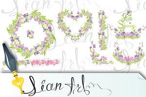 Border, frame, vignette with flowers