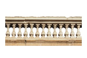 baroque balustrade isolated over white