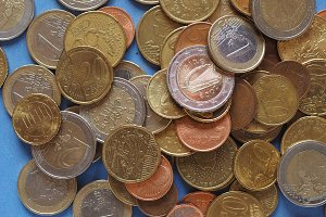 Euro coins, European Union over blue