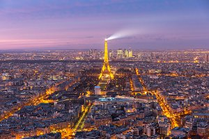Aerial night view of Paris, France