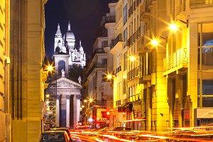 Sacre-Coeur Basilica at night in Paris, France
