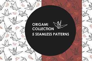 Origami seamless patterns bunch!