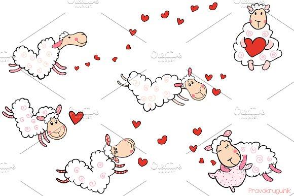 Cute Heart Shaped Sheep Clipart