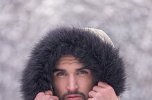 man winter outdoors head closeup
