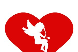 Valentine's Day. Cupid and heart
