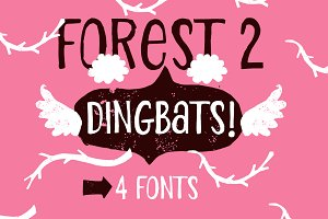 Forest 2 / all set Dingbat / 4 fonts