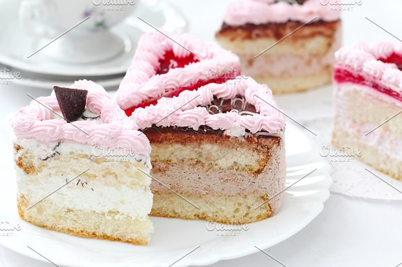 Delicious Cake With Cream And Jelly